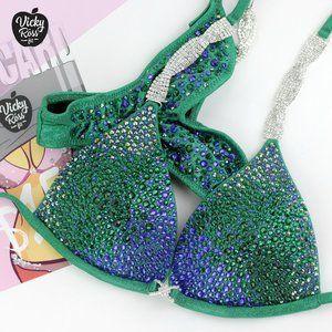 Emerald Blue Ombre Bikini Competition Fitness Suit